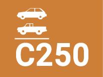 C250. Para dispositivos de cubrimiento instalados sobre arcenes y en la zona de cuneta de las calles hasta un máximo de 50 centímetros hacia el interior de la calzada y 20 centímetros hacia la acera, medidos ambos desde la cara del bordillo lindante con la calzada.